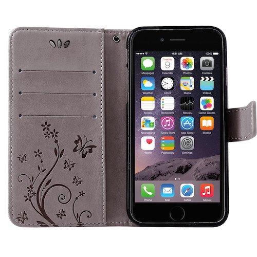 betterfon   Flower Cover Handytasche Schutz Hülle Blume Case Buch Klapptasche Handyhülle Handy Schale für Apple iPhone 7 Plus Grau