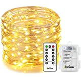 Homestarry Fairy Lights, 33Ft 132LEDs Battery Operated String Lights Waterproof 8 Modes Firefly Lights with Remote and 6AA Battery Powered Sliver Wire Indoor Lights for Holiday Decor (Warm White) ¡­