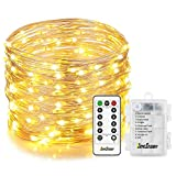 Homestarry Faiy Lights, 33Ft 132LEDs Battery Operated String Lights Waterproof 8 Modes Firefly Lights with Remote and 6AA Battery Powered Sliver Wire Indoor Lights for Holiday Decor (Warm White) ¡