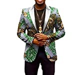 Vska Men's Africa Batik Leisure Printing Dashiki Coat Vogue Blazer 1 5XL