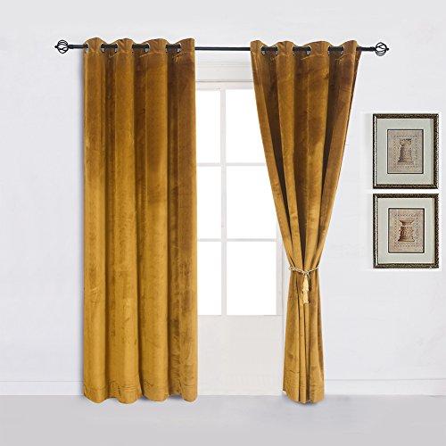 Super Soft Luxury Velvet Set of 2 Warm Yellow Blackout Velvet Energy Efficient Grommet Curtain Panel Drapes Ginger Mustard Curtain Panels 52Wx108L(2 panels)