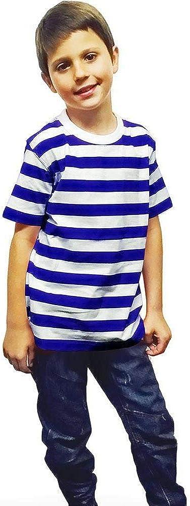 Hi Fashionz Boys Girls Blue Black Red and White Stripe T Shirt Kids Striped Book Week Unisex Childerns Party Tshirt Fancy Top