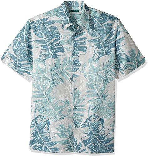 Cubavera Men's Short Sleeve Linen-Blend Tropical Floral Print Button-Down Shirt, Harbor Mist, Large