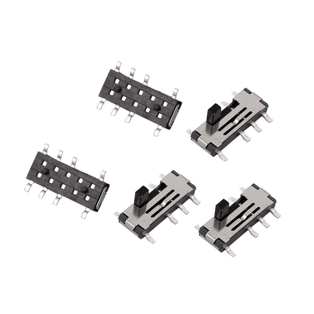 5pcs 3 Position 8P 2P3T SMT SMD Self Locking Mini Power Slide Switch 10x6x3mm Miki&Co