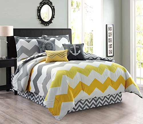 7-Piece Oversize CHEVRON ZIGZAG Designer Nautical Anchor Comforter Set Full Size Bedding With Decorative Pillows (Yellow, Grey, White) (Grey Chevron Set Bed)