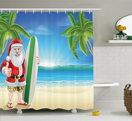 Ambesonne Christmas Shower Curtain, Santa Claus with Trunks on The Beach and Surfboard Sunny Hot Christmas Theme, Fabric Bathroom Decor Set with Hooks, 70 Inches, Blue Green for $<!--$14.90-->