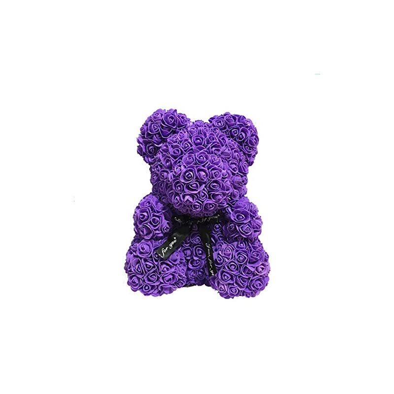 """silk flower arrangements unique gifts and crafts rose teddy bear artificial wedding bachelorette anniversary christmas valentines birthday 10""""/16"""" luxury long-lasting hand made forever present box (16 inches, purple)"""