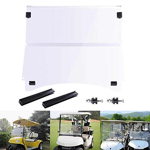 (AW Fold Down Golf Cart Windshield Impact Resistant Acrylic Split Windshield Compatible with Club Car Precedent Compatibl)