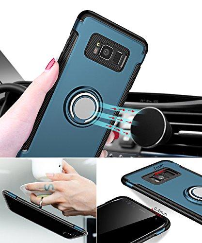 Galaxy S8 Funda, WindCase Anillo Giratorio de 360 Grados Case Compatible con la caja de montaje de coche magnético, Dual Layer Anti-Arañazos Carcasa for Samsung Galaxy S8 Verde oscuro Verde oscuro