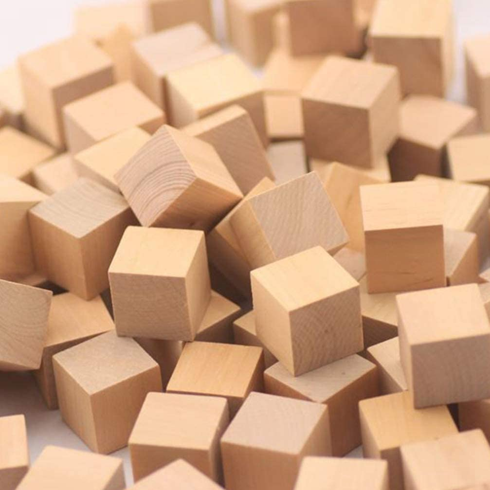 Healifty 200pcs Natural Wooden Cubes Unfinished Wood Blocks for Craft Art Supplies Puzzle Projects 10mm