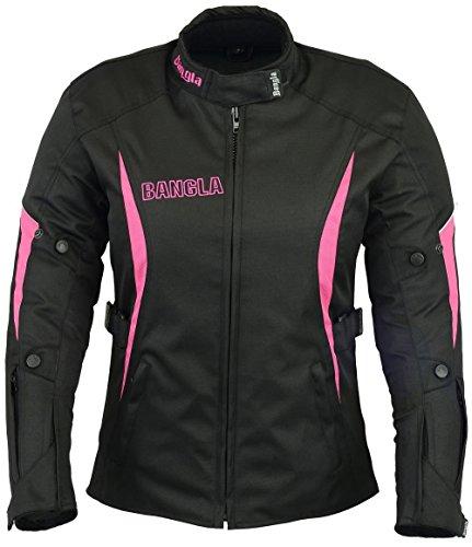 B-101 Bangla Sportliche Damen Motorrad Jacke Textil Schwarz-pink L