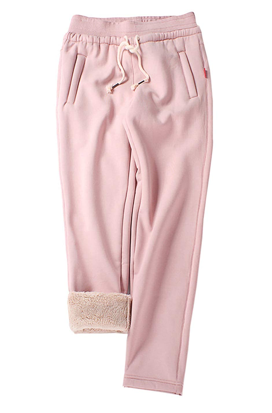 2  Pink Gihuo Women's Winter Fleece Pants Sherpa Lined Sweatpants Active Running Jogger Pants
