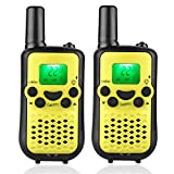 Kids 2 Way Radio Walkie Talkies 22 Channel 2 Miles (up to 3.7 Miles) UHF Handheld Walkie Talkies for Kids Chirldren Student Yellow