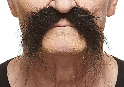 Realistic Fu Manchu fake mustache, self adhesive