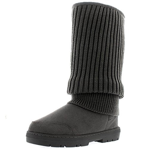 Womens Tall Knitted Cardy Slouch Winter Snow Rain Outdoor Warm Shoe Boots - 8 - GRK39 (Cardy Fashion Boot)