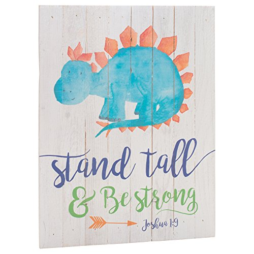 Hangings Wall Dinosaur - P. GRAHAM DUNN Stand Tall Be Strong Dinosaur Whitewash 12 x 16 Inch Wood Pallet Hanging Wall Plaque Sign