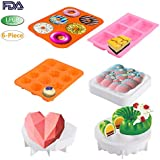 KINDEN 6PCS/SET Silicone Baking Molds - Include Donut Pan, Silicone Soap Mold, Pudding Mold,Flowers Mousse Mold, Sky Cloud Cake Mold, Love Heart Mousse Mold, Food Grade & BPA Free