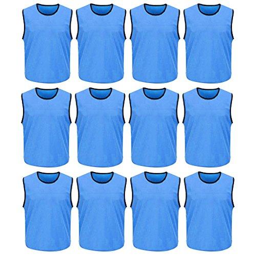 DreamHigh 12 Pack Soccer Team Sports Training Vest Adult Sky Blue