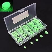 OriGlam 100pcs Soft Plastic Luminous Glow Fishing Beads, Plastic Oval Shaped Beads Round Beads Fishing Lures,