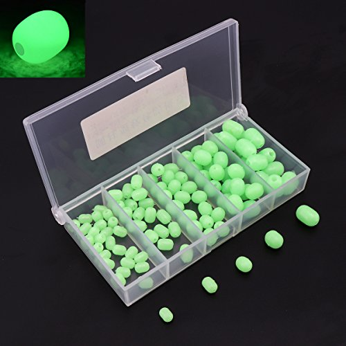 OriGlam 【Happy Shopping Day】 100pcs Soft Plastic Luminous Glow Fishing Beads, Beads Round Beads Fishing Lures, Green Sea Fishing Bead Fishing Tackle ()