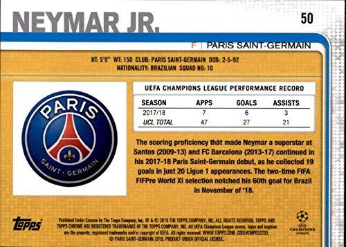 2018 Topps Chrome UEFA Champions League #50 Neymar Jr Paris Saint-Germain Soccer Card