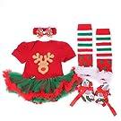 ANDI ROSE Baby-Girls Christamas TUTU Dress|Baby Bloomer|Hat Hairpin(4pcs) (Size L(6-12Months), Christmas-A)