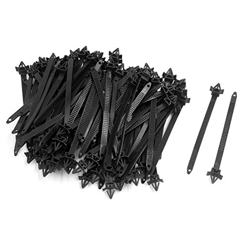 uxcell 100pcs 10mm x 150mm Adjustable Nylon Push Mount Cable Ties Zip Wire Fasten Black