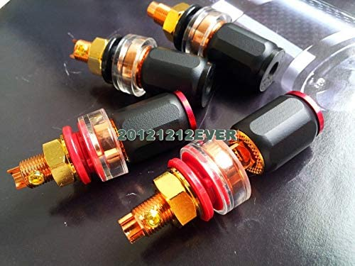 4Pc Eutectic Cast Copper Red Copper Plated Speaker Terminal Binding Post