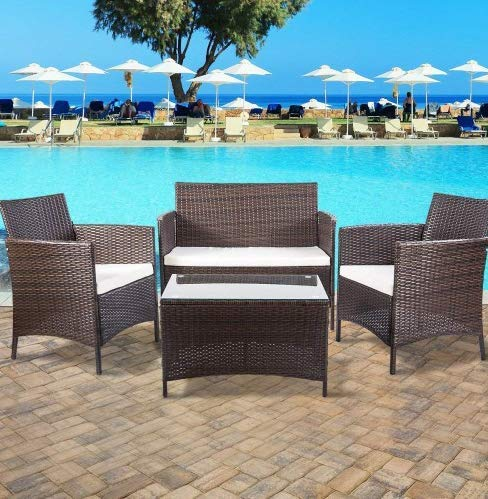 Aprox Patio Dining Set, 4 Piece Outdoor Wicker Dining Table Set Rattan Furniture Set with Beige Cushion All Weather Resistant Perfect for Balcony, Patio, Porch, Garden, Poolside
