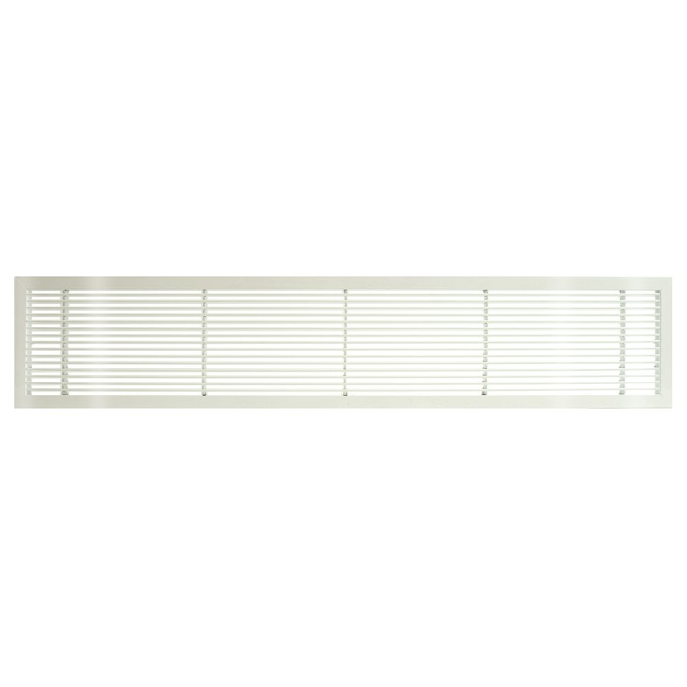 Architectural Grille 100041403 AG10 Series 4'' x 14'' Solid Aluminum Fixed Bar Supply/Return Air Vent Grille, White-Gloss