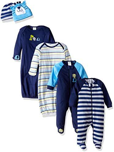 Gerber Baby Boys' 6 Piece Gown, Cap and Sleep 'n Play Set
