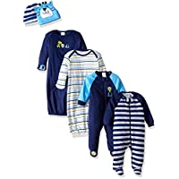 Gerber Baby Boys' 6 Piece Gown, Cap (0-6M), and Sleep'n Play (0-3M) Gift Set,...