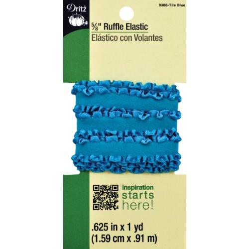 (Dritz 9388 Ruffle Woven Elastic, Tile Blue, 5/8-Inch by 1-Yard)