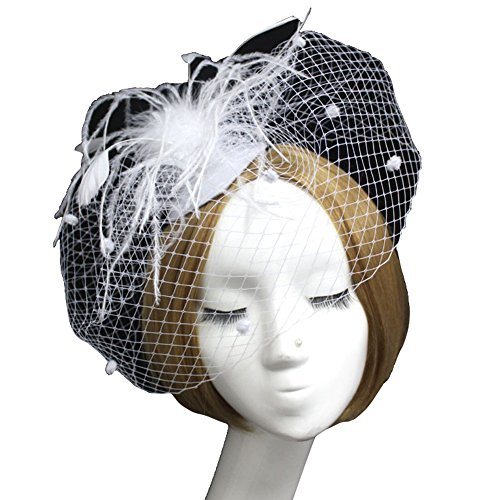 [Vimans Women's 2016 Feather Veil Hat Fascinator Cocktail Party Hair Clip Headwear White] (White Top Hat Fascinator)