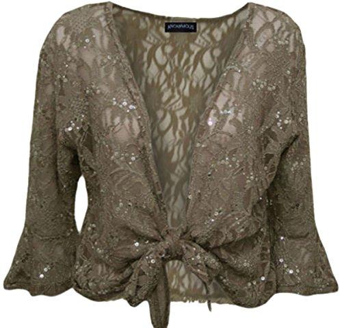 New Ladies acampanado, Plus tamaño Tie de lentejuelas de encaje 3/4Sleeve Shrug Bolero Top 12–�?6 Marrón moca