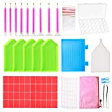 Outuxed 127pcs 5D DIY Diamond Painting Accessories Diamond Painting Tools Cross Stitch Tool Set with 28 Slots Diamond Embroidery Box and Stickers for Art Craft (Color: 127pcs)