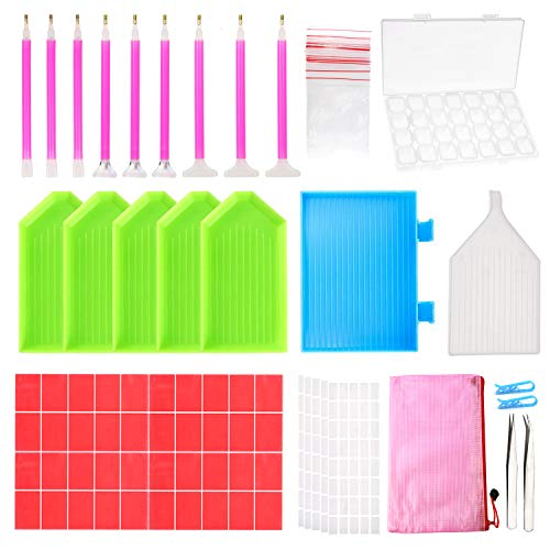 Outuxed 127Pcs Diamond Painting Tools 5D DIY Cross Stitch Tool Set Embroidery Sewing Accessories with Storage Box and Stickers for Art Crafts (127PCS)