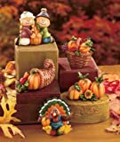 "Ceramic 5 Piece Harvest Fall Thanksgiving Figurines Set Approx. 2-7/8"" X 2"" X 1-5/8"", Each"