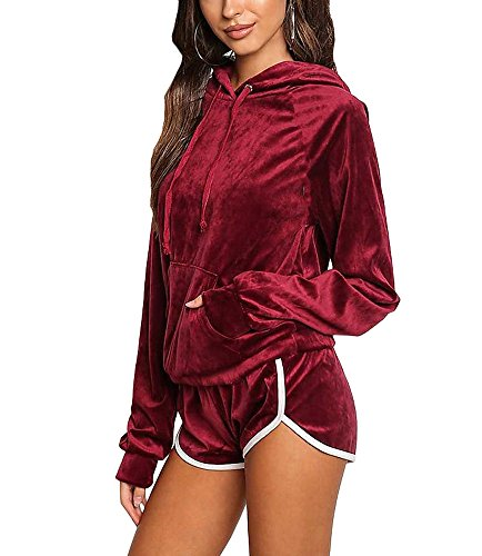 (Noih Womens Velvet Hoodie And Shorts Set Tracksuit With Pocket)