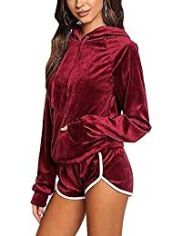 Womens Velvet Hoodie and Shorts Set Tracksuit With Pocket