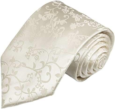 Ivory Wedding Silk Tie . Vine Pattern