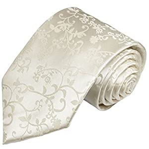 Paul Malone Extra Long Necktie 100% Silk Ivory