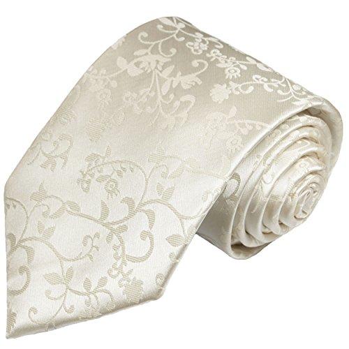 Paul Malone Extra Long Necktie 100% Silk Ivory