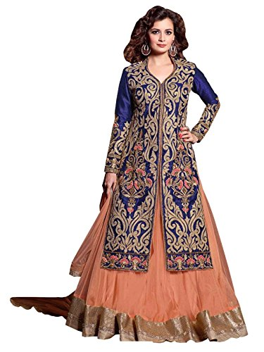 Delisa Readymade Partywear Georgette Embroidered Long Choli Lehnga Indian DY-22002 (M-40) -