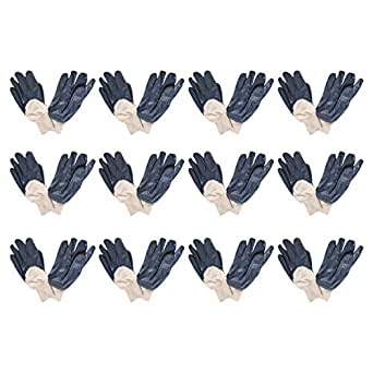 Power Tool ZA052 Nitrile Cotton Liner Gloves Set of 12 - Off White and Blue