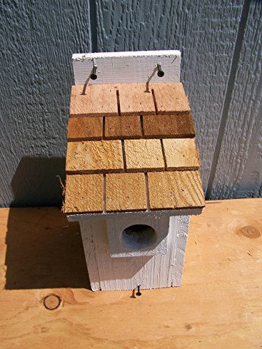 1 White Bluebird Houses with cedar shake roof... 1 houses handmade by Cedarnest
