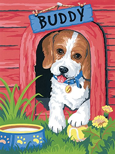Paint By Number Canvas Ball - Simplicity Vintage Dimensions Cute Puppy Paint by Numbers for Adults 9'' W x 12'' L