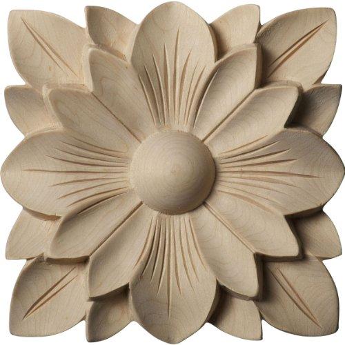 Ekena Millwork ROS05X05SPRW Springtime Rosette, 5-Inch x 5-Inch x 3/4-Inch, Rubberwood (Rosette Molding Trim)