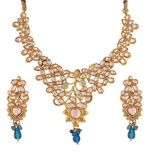 Variation Blue Kundan Gold Plated Necklace Set For Women – VD13262