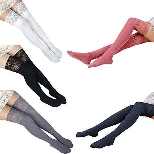 (Vimans 2018 Women's Sexy Lace Edge Knee High Stockings Boot Socks Pack of 5 B)